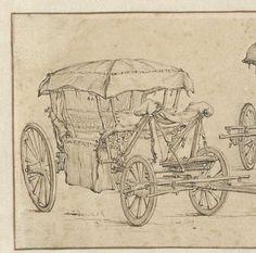 Reiswagen uit twee verschillende hoeken gezien, Jan van de Velde (II), 1603 - 1641 - Rijksmuseum