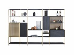 Modular shelving systems in aluminium and solid wood by Janua Open Shelving Units, Modular Shelving, Shelving Systems, Cabinet Furniture, Home Furniture, Furniture Design, Luxury Office, Modular Design, Display Shelves