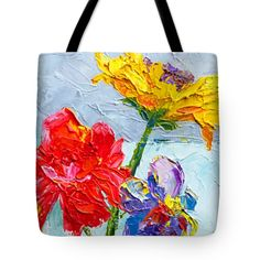 "Flowers in a Glass Vase, Peonies and Daisies Tote Bag 18"" x 18"" gift idea"