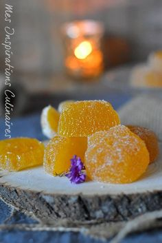 Recette pâte de fruits à la mandarine Chutney, Candy Recipes, Dessert Recipes, Mandarine Recipes, Fruit Pastilles, Veggie Chips, Candied Fruit, Holiday Cakes, French Food