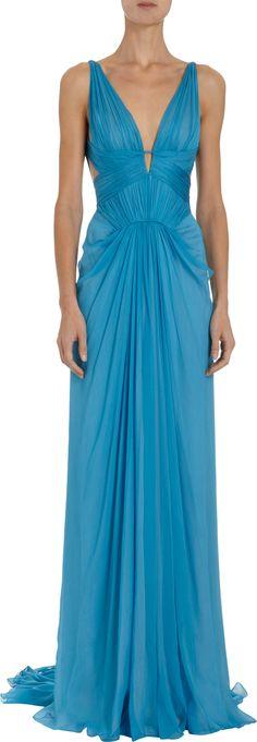 J. Mendel Ruched Mousseline Floor Length Gown Sale up to 70% off at Barneyswarehouse.com