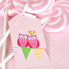 Owl Pink Tags