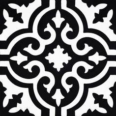 Moroccan Mosaic Argana 8 x 8 Cement Field Tile Color: Black White Wall And Floor Tiles, Wall Tiles, Encaustic Tile, Color Tile, Wall Patterns, Mosaic Tiles, Cement Tiles, Unique Art, Color Splash