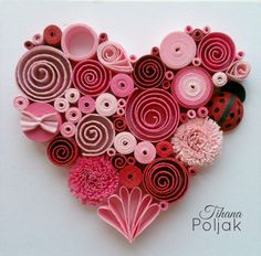 Quilled heart, quilling red rose heart, love quilling, quilled Ladybug, quilling by Tihana Poljak