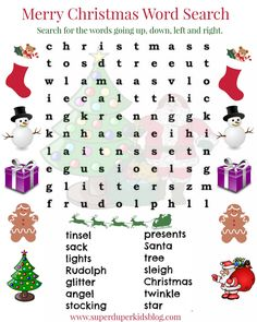 Free Christmas Word Search Printable! Go HERE to Print -->  http://superduperkidsblog.com/free-christmas-word-search-printable/ Don't forget to PIN on your Christmas Board!