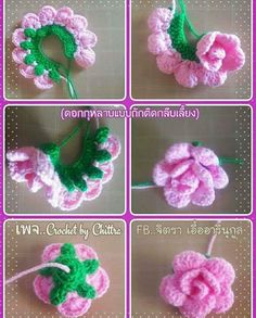 Best 10 Learn How to Crochet Simple Origami Rose from a Circle by Donna Wolfe from Naztazia – SkillOfKing. Beau Crochet, Crochet Puff Flower, Crochet Flower Tutorial, Knitted Flowers, Crochet Flower Patterns, Crochet Designs, Knit Crochet, Knit Lace, Crochet Roses