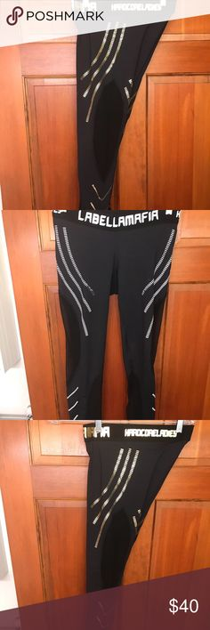 Labella Mafia Leggings Leggings size Small. Leggings with white on the side are worn a few times. Gold on the side are never worn and brand new as of this year! Mesh on the sides also. Pants Leggings
