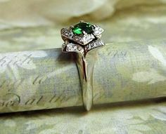 Lotus Engagement Ring...14k White Gold, Diamonds and Green Chrome Diopside Gemstone