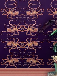 In our Ocean, a mysterious, ancient and magical creature lives in shallows and also where the deep waves stream. Transforming shape, colour and texture, the enchanting intelligent Octopus. The Optical Octopus print was hand-painted in oils, care and attention has been given to every detail which is then reproduced onto luxury vinyl wallpaper. This quality wallpaper benefits from being a paste the wall paper, which means it is incredibly easy to apply and work with whilst decorating. Deep Wallpaper, Adhesive Wallpaper, Vinyl Wallpaper, Octopus Print, Animal Print Wallpaper, Wild Creatures, Safari Animals, Luxury Vinyl, Stuffed Animal Patterns
