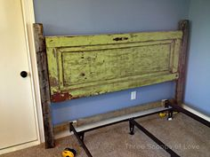 vintage door headboard, doors, repurposing upcycling, Getting it all set into place with the bed frame Headboard From Old Door, Door Headboards, Headboard Ideas, Bedroom Ideas, Cushion Headboard, White Headboard, Tailgate Headboard, Vintage Headboards, Rustic Headboards