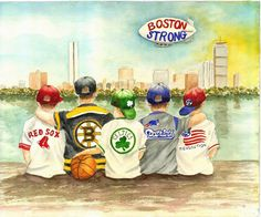 Boston Strong! - Matted Watercolor Print - 8x10/5x7 available - Red Sox, Bruins, Celtics, Patriots and Revolution kids watch Boston skyline
