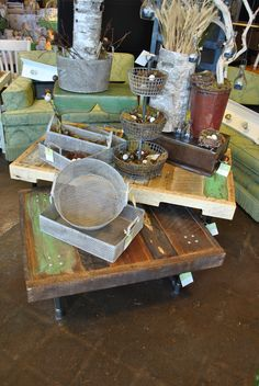 We've added these salvaged wood coffee tables with iron piping legs to our industrial section of the store.