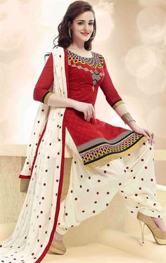 Picture of Off White and Red Patiala Salwar Kameez