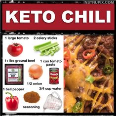 This low carb chili recipe is super quick and easy to make! Keto friendly and SO GOOD! This low carb chili recipe is super quick and easy to make! Keto friendly and SO GOOD! Easy Low Carb Chili Recipe, Keto Chili Recipe, Chili Recipes, Low Carb Recipes, Diet Recipes, Healthy Recipes, Diabetic Friendly Chili Recipe, Protein Shake Recipes, Cetogenic Diet