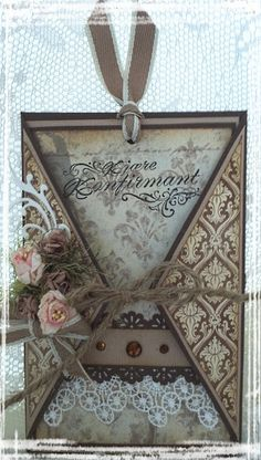 loveee this! it has victorian print, lace and roses! Fun Fold Cards, Cool Cards, Folded Cards, Shabby Chic Cards, Vintage Tags, Card Tags, Creative Cards, Scrapbook Cards, Homemade Cards
