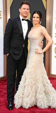 Channing Tatum, in Gucci, and Jenna Dewan Tatum, in Reem Acra, at the Oscars 2014 Red Carpet Arrivals.