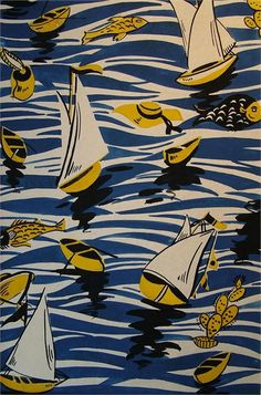 Parisian designer Louis Lang produced fabric patterns between 1935-1970. They caught my eye because I like the colour choices he makes, particularly the yellow and blue palette of the fishing print…
