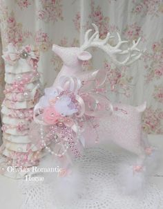 Pink and white Christmas reindeer ornament