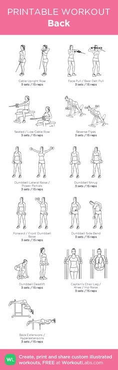 Back: my visual workout created at WorkoutLabs.com • Click through to customize and download as a FREE PDF! #customworkout