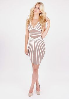 Herve Leger Beige White Color Block Leatherette Deep V Neck Bandage Dress