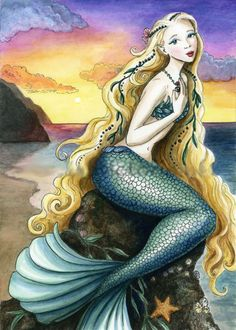 Lisa Victoria original fantasy/fairy art Gallery, A stunning mermaid rests on a sea creature covered rock with during a wonderful sunrise. Fantasy Mermaids, Real Mermaids, Mermaids And Mermen, Pics Of Mermaids, Pretty Mermaids, Fantasy Creatures, Mythical Creatures, Sea Creatures, Mermaid Artwork