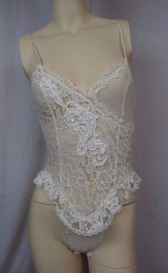 4274af571 Details about VINTAGE Victoria s Secret Gold Label Lace Bodysuit Teddy  White Lingerie Size S
