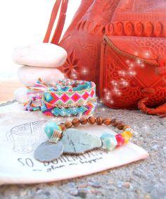 2 Handwoven Aztec Friendship Bracelets and  1 OOAK Beaded Bracelet. Set of 3 by sobohemians on Etsy