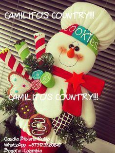 Imagen relacionada Felt Christmas Ornaments, Christmas Wreaths, Christmas Crafts, Christmas Centerpieces, Christmas Decorations, Holiday Decor, Candy Decorations, 4th Of July Wreath, Snowman