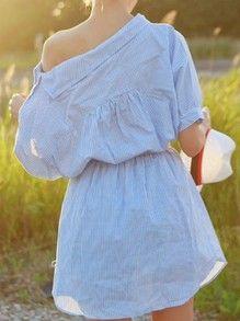 Blue Periwinkle Shouldered Half Sleeve Off The Shoulder Striped Dress -SheIn(Sheinside)