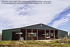 "Kansas Flint Hills Quilt Trail---BUTLER COUNTY: ""Chevron, Churn Dash, Star of David and Shoofly Variation"" quilt blocks Bonnie Smith, 3412 SW 100th, Augusta KS.  67010.  This barn cannot be seen from the highway but you can drive onto the property to see it."