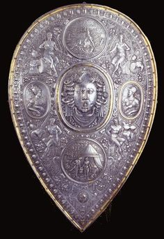 Shield / set composed of Morion and shield  Southern Germany. Probably Augsburg. Second Half of the 16th Century.