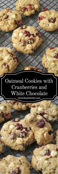 Oatmeal Cookies with Cranberries and White Chocolate (#cookiesideas, #cookiesrecipes, #cookiesrecipe, #oatmealcookies, #cookieswithoatmeal, #chocolatechipcookies, #whitechocolatechipcookies, #holidaycookies, #fallcookies, #christmascookies, #christmascookiesideas)