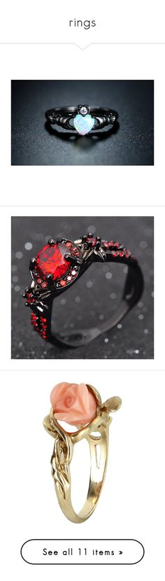 """""""rings"""" by kidcreepy on Polyvore featuring jewelry, bracelets, rings, jewelry & watches, unisex rings, cz rings, crown ring, heart crown ring, cz jewellery and gold ruby ring"""