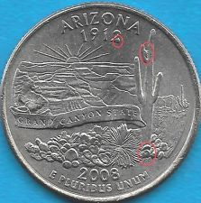 2008 P - ARIZONA STATE QUARTER ERROR COIN - REVERSE DIE CHIPS - UNCIRCULATED