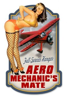 Vintage and Retro Wall Decor - JackandFriends.com - Retro Aero Mechanics Custom Shape  - Pin-Up Girl Metal Sign, $39.97 (http://www.jackandfriends.com/retro-aero-mechanics-custom-shape-tin-sign/)