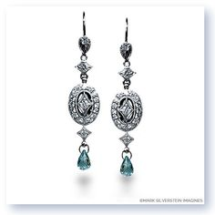 Mark Silverstein Imagines Hand Engraved 18K White Gold Aquamarine and Diamond Drop Earrings