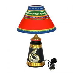 ExclusiveLane 14 Inch Terracotta Handpainted Madhubani Tappered Lamp Black - Lighting n Lamps by ExclusiveLane for Beeja Indian Home Decor, Unique Home Decor, Home Decor Items Online, Black Lamps, Pottery Painting, Indian Art, Terracotta, Cool Stuff, Stuff To Buy