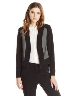Adrianna Papell Women's Bonded Mesh Zip-Front Jacket, Black/Ivory, 6. Novelty. Easy fit.