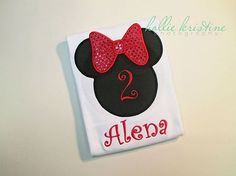 Girls Minnie Mouse Silhouette Red Bow Birthday Number Onesie or Shirt