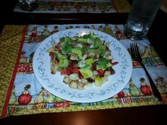I enjoy a salad most evenings.  My base is always tomatoes, apples and dates (note no lettuce).  Additionally chicken, mushrooms, peas, mozzarella cheese and avocado were added.  Finish with freshly ground pepper and dress her lightly and she is a meal. ~T.