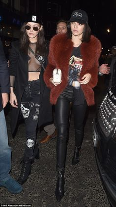 London look: Reality star Kendall, 21, and Bella were seen out on the town in London the night before in their glad rags after the Versace LFW show