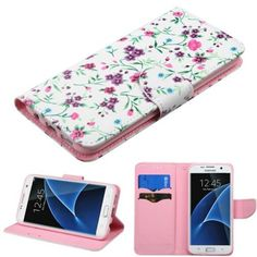Insten / White Flowers Case Cover with Stand/ Wallet Flap Pouch For Samsung Galaxy S7 Edge #2234585