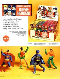 I had these old Mego comic book action figures when I was a kid - the Batman Robin ones. I remember i also had a Batcave and Batmobile, and I seem to recall a Riddler figure, and a Batgirl and her Batcycle. Batman And Superman, Batman Robin, Authentic Costumes, Dc Comics Heroes, Retro Pop, Riddler, Gi Joe, Urban Legends, Batmobile