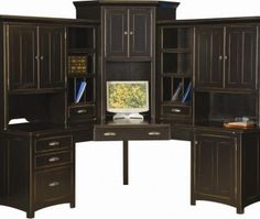 Large Amish Corner Computer Center Desk Hutch Home Office Wood Furniture  Black