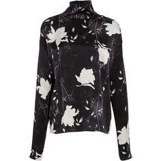 Paule Ka Japanese Printed  Blouse ($595) ❤ liked on Polyvore featuring tops, blouses, black, turtleneck top, silk turtleneck, floral print tops, print blouse and silk top