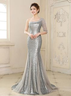 Latest Mermaid One-Shoulder Half Sleeve Sequins Beading Long Evening Dress Sequin Evening Dresses, Evening Dresses Online, Mermaid Evening Dresses, Mermaid Gown, Dress Online, Sequin Dress, Evening Gowns, Tight Dresses, Cute Dresses