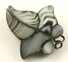 Victorian silver Scottish agate pebble brooch pin evelynwr
