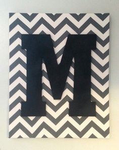 Large Handmade Chevron and Monogrammed Letter Wall Hanging