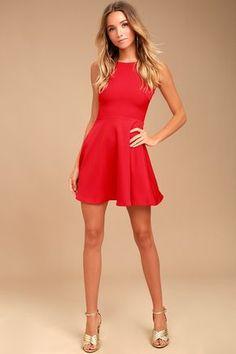 Just Us Red Skater Dress 1