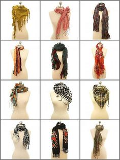 Different ways to wear scarves. Links to video tutorials.